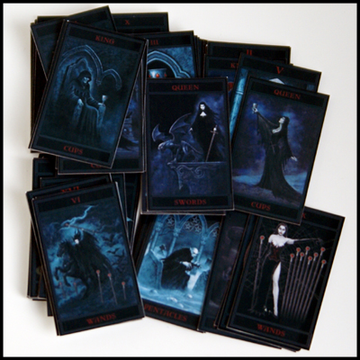 Goth Fashion Dolls on Off Black Deck Of Cards With Delicate Romantic Gothic Images In
